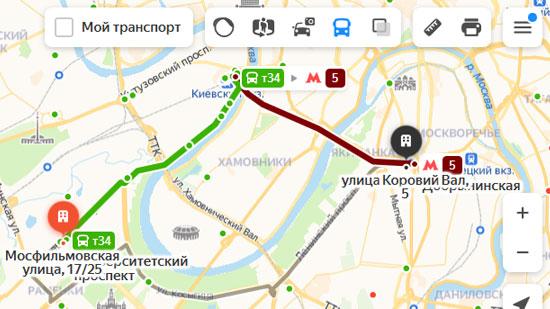 Предложенный маршрут на карте