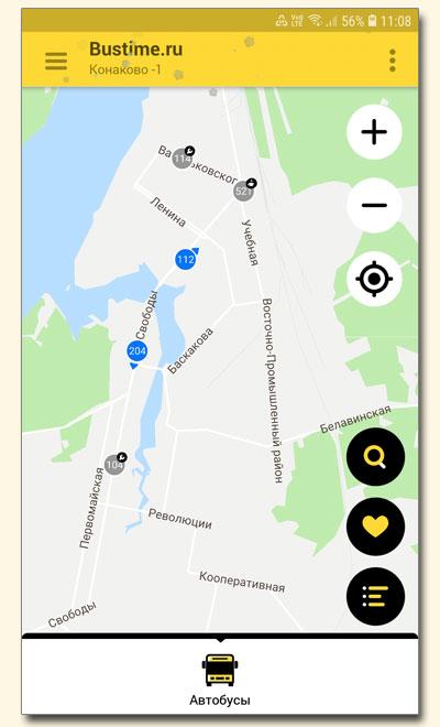 Маршруты транспорта на карте приложения Bustime